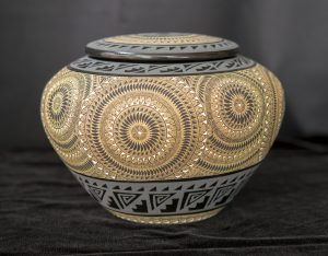 Black and Gold Geometric Bowl with Lid