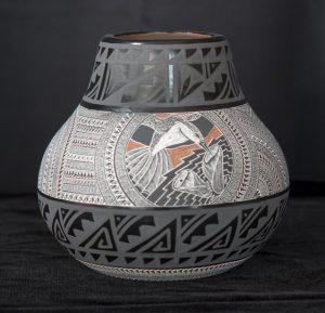 Black and White Geometric Hummingbird Jar
