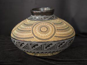 Black and Yellow Geometric Jar